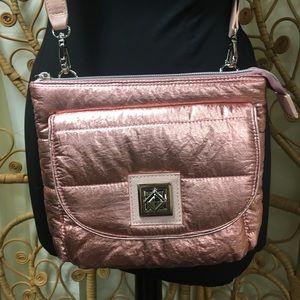 NWOT Betsey Johnson Metallic Pink Crossbody Bag